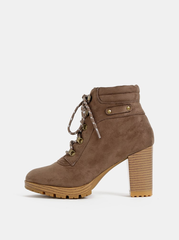 Hnedé dámske členkové topánky v semišovej úprave Haily´s Madl