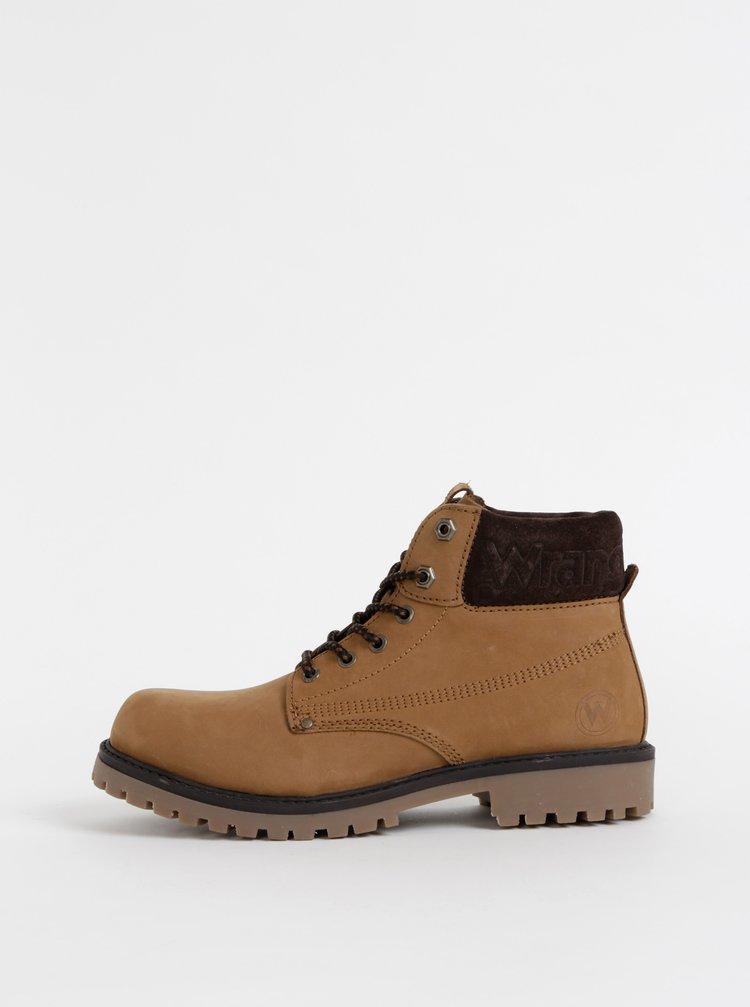 Svetlohnedé pánske semišové členkové topánky Wrangler