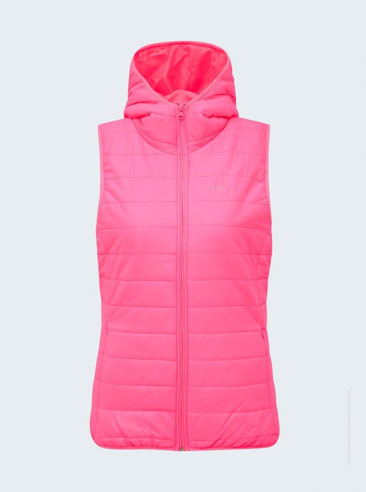 Neonově růžová dámská prošívaná vesta SAM 73