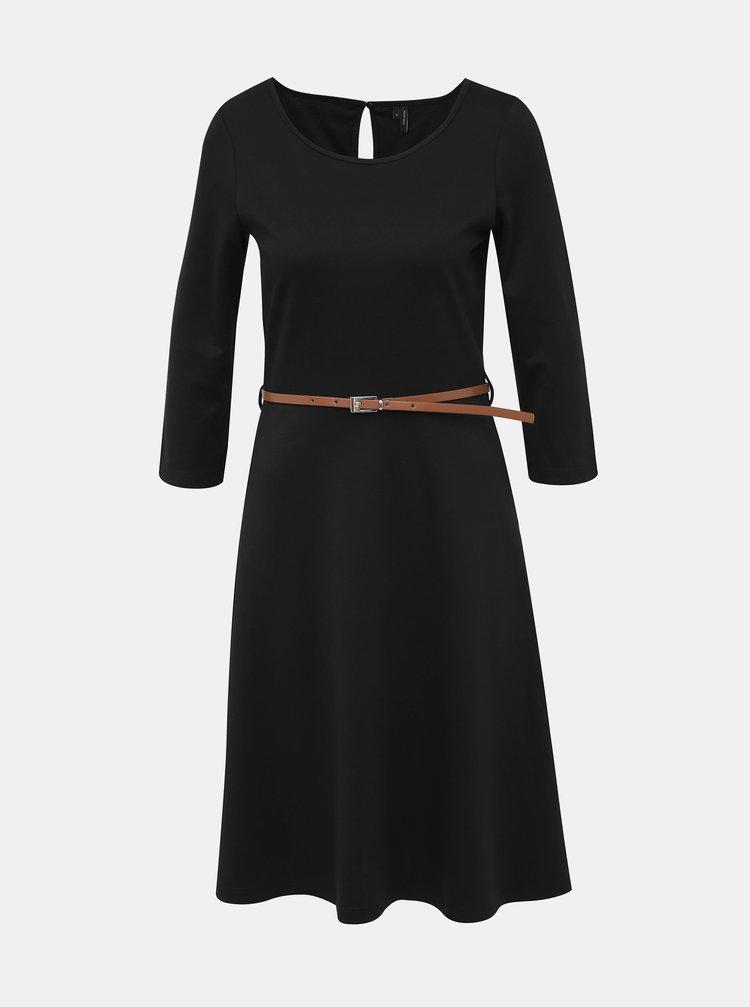 Čierne šaty s opaskom VERO MODA Vigga
