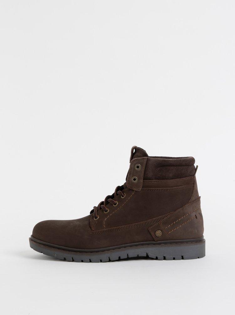 Tmavohnedé pánske kožené členkové topánky Wrangler