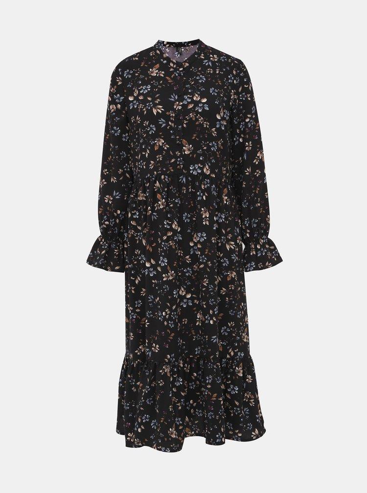 Čierne kvetované midi šaty VERO MODA Myranda