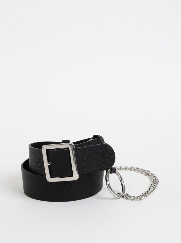 Černý pásek s odnímatelným řetězem Pieces Silva