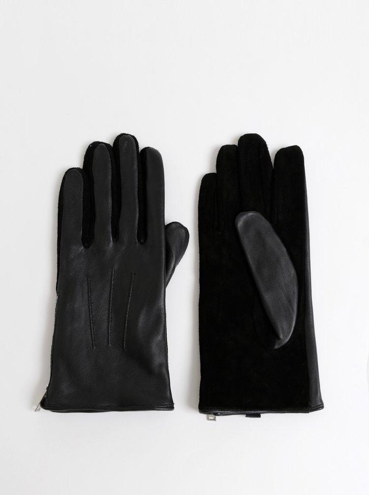 Černé kožené rukavice se semišovou spodní částí Pieces Charper
