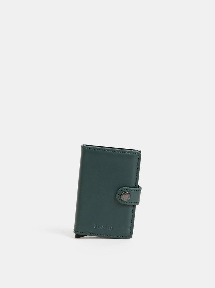 Tmavě zelená kožená peněženka s hliníkovým pouzdrem Secrid Miniwallet