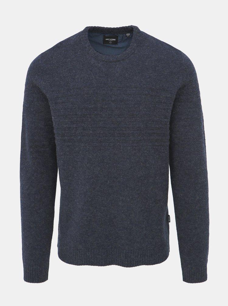 Tmavomodrý vlnený sveter ONLY & SONS Howard