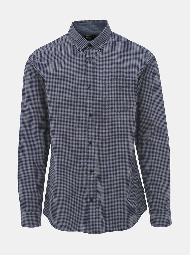 Modro-šedá kostkovaná slim fit košile ONLY & SONS Jade