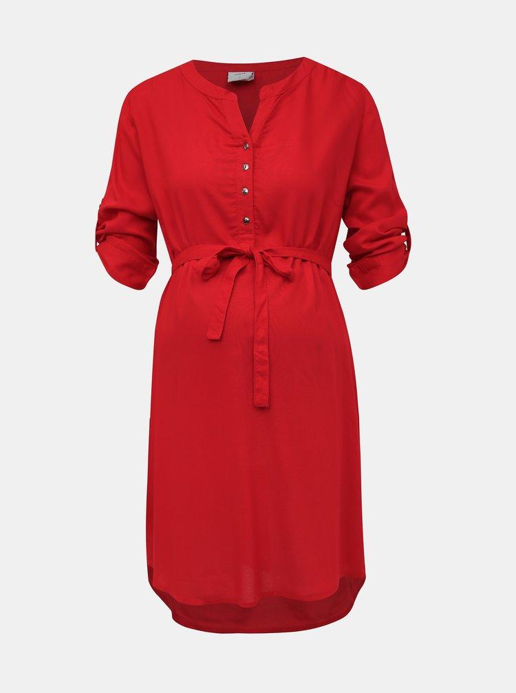 Červená dlhá tehotenská blúzka Mama.licious Mercy