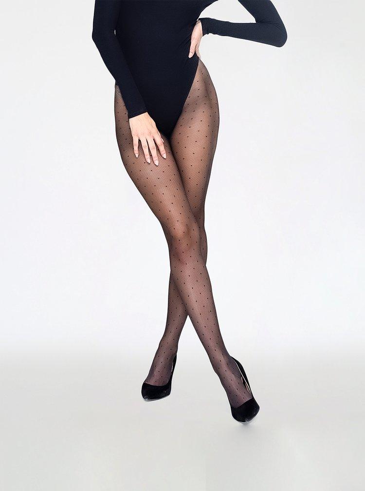 Čierne bodkované pančuchové nohavice Andrea Bucci
