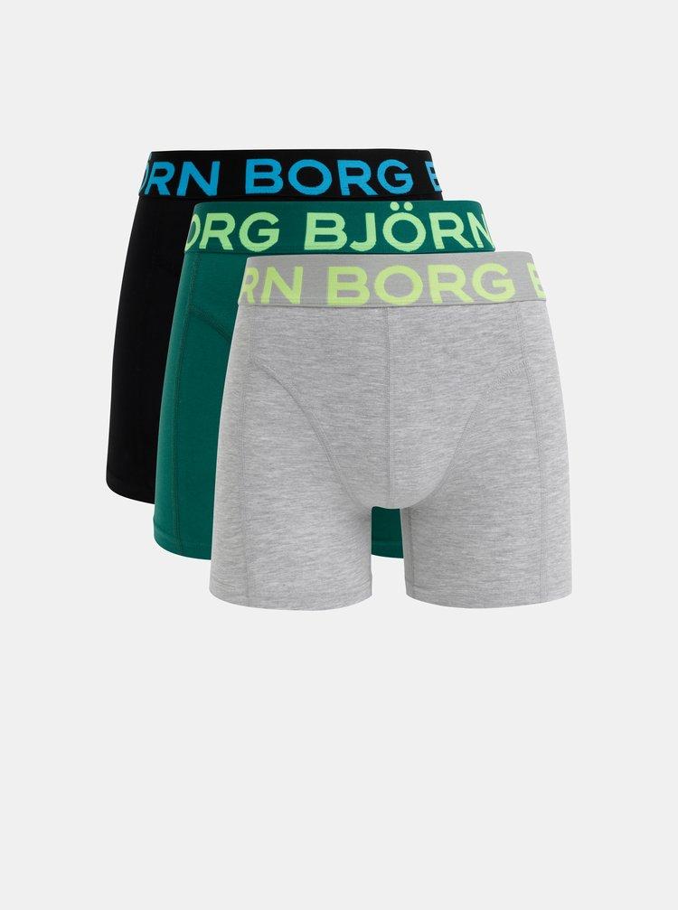 Sada tří boxerek v šedé, černé a zelené barvě Björn Borg Flower Solid