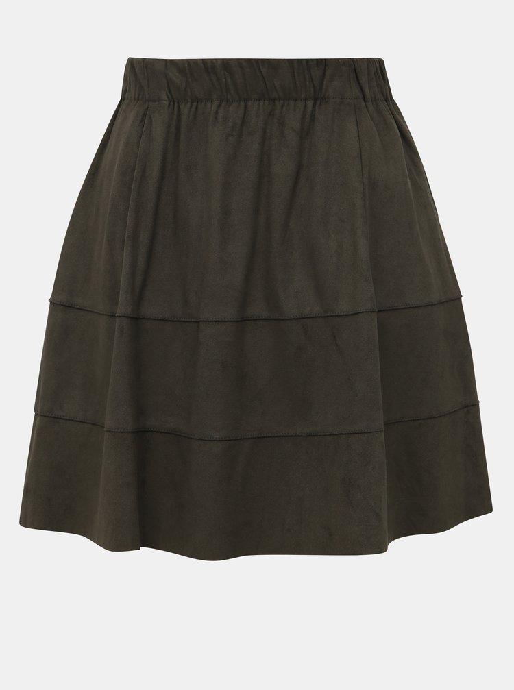 Khaki sukně v semišové úpravě Noisy May Lauren