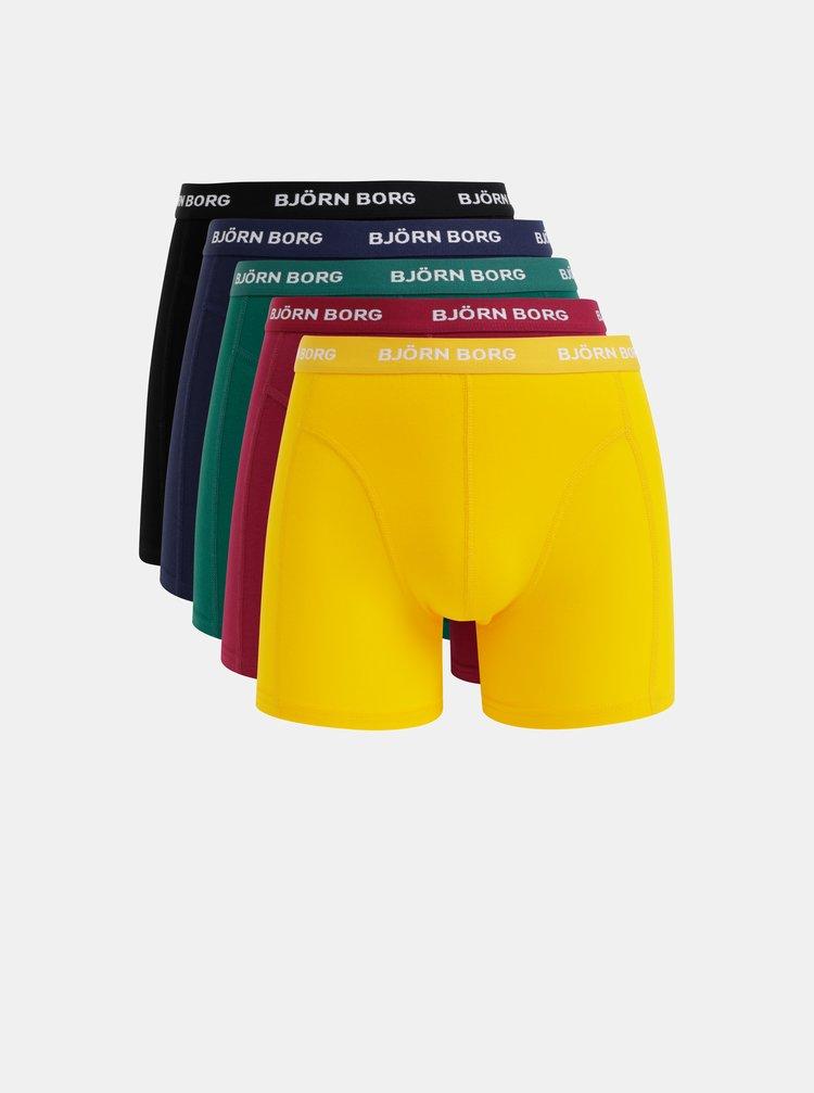 Sada piatich boxeriek v modrej, vínovej, zelenej, čiernej a žltej farbe Björn Borg Flower Solid