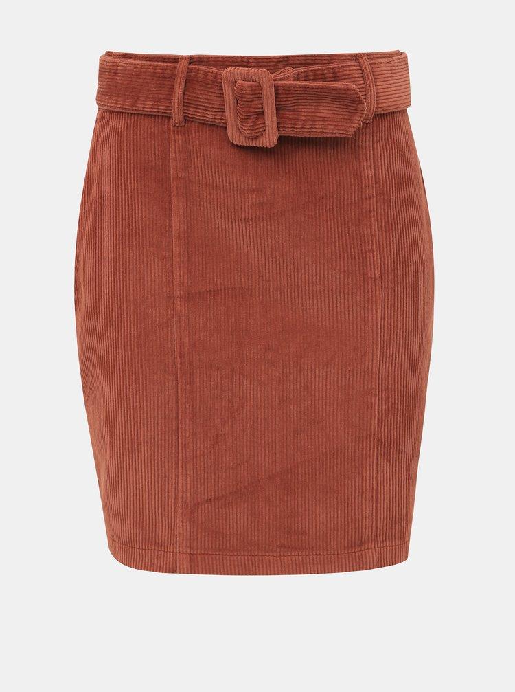 Hnedá menčestrová sukňa Dorothy Perkins