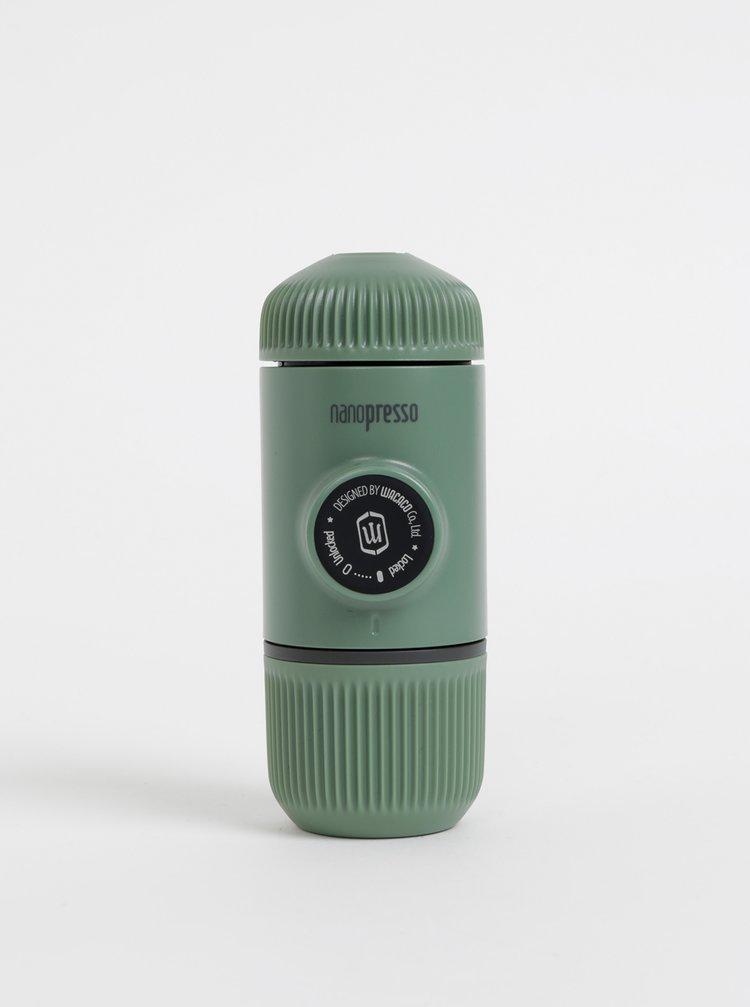 Zelený přenosný kávovar s pouzdrem Wacaco Nanopresso 80 ml