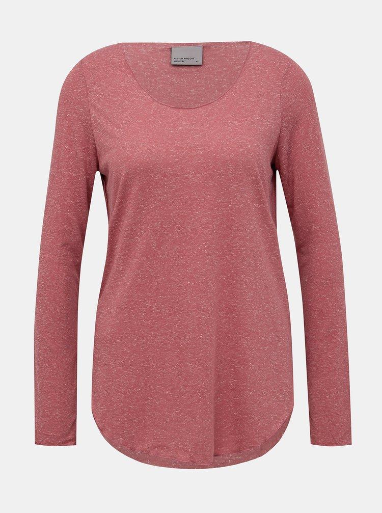 Rúžové basic tričko s prímesou ľanu VERO MODA Lua