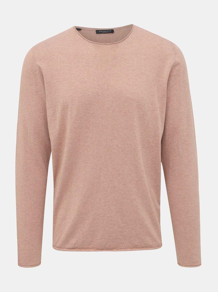 Rúžové basic tričko s prímesou hodvábu Selected Homme Dome