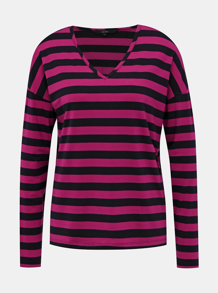 Modro-ružové pruhované basic tričko VERO MODA Sonia