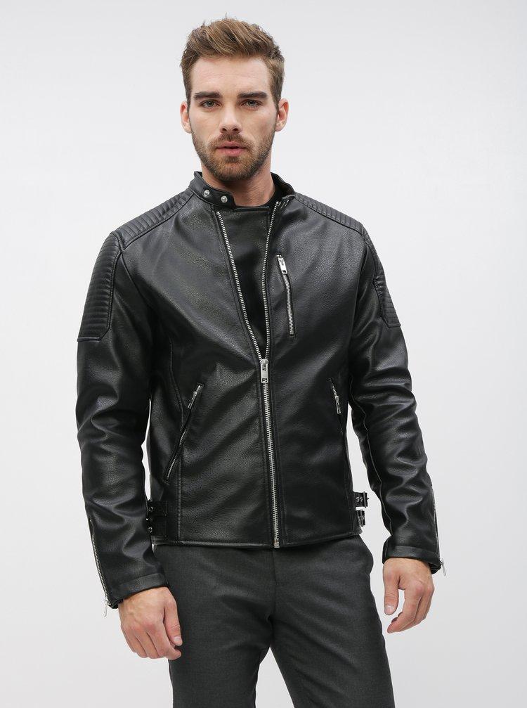 Čierna koženková bunda Jack & Jones Derrick