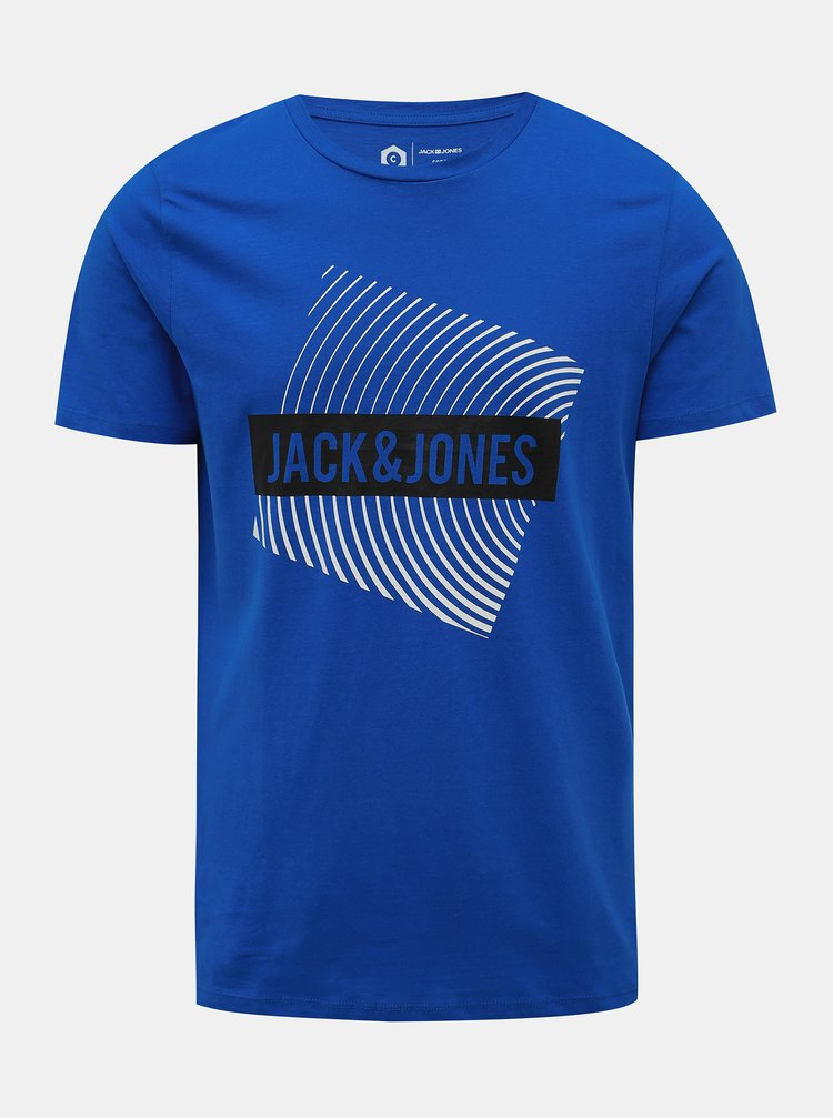 Modré tričko s potlačou Jack & Jones Booster