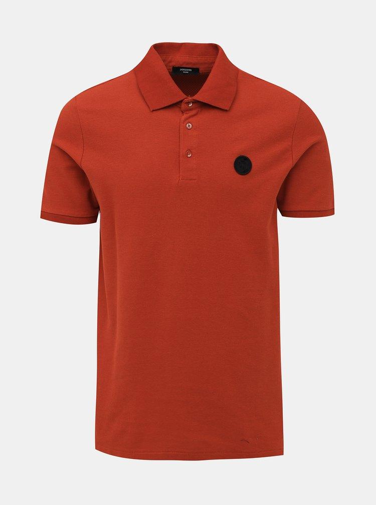 Oranžové slim fit polo tričko Jack & Jones Angus