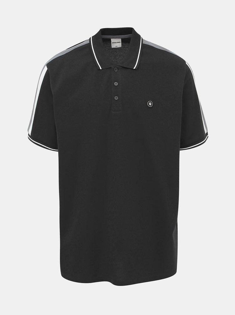 Černé polo tričko s lampasem Jack & Jones Block
