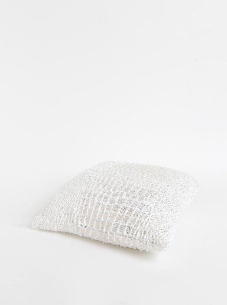 Bílý polštář s detaily ve zlaté barvě vzorem Dakls