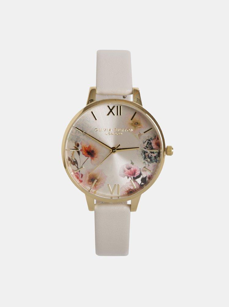 Dámske hodinky s krémovým remienkom z vegánskej kože Olivia Burton