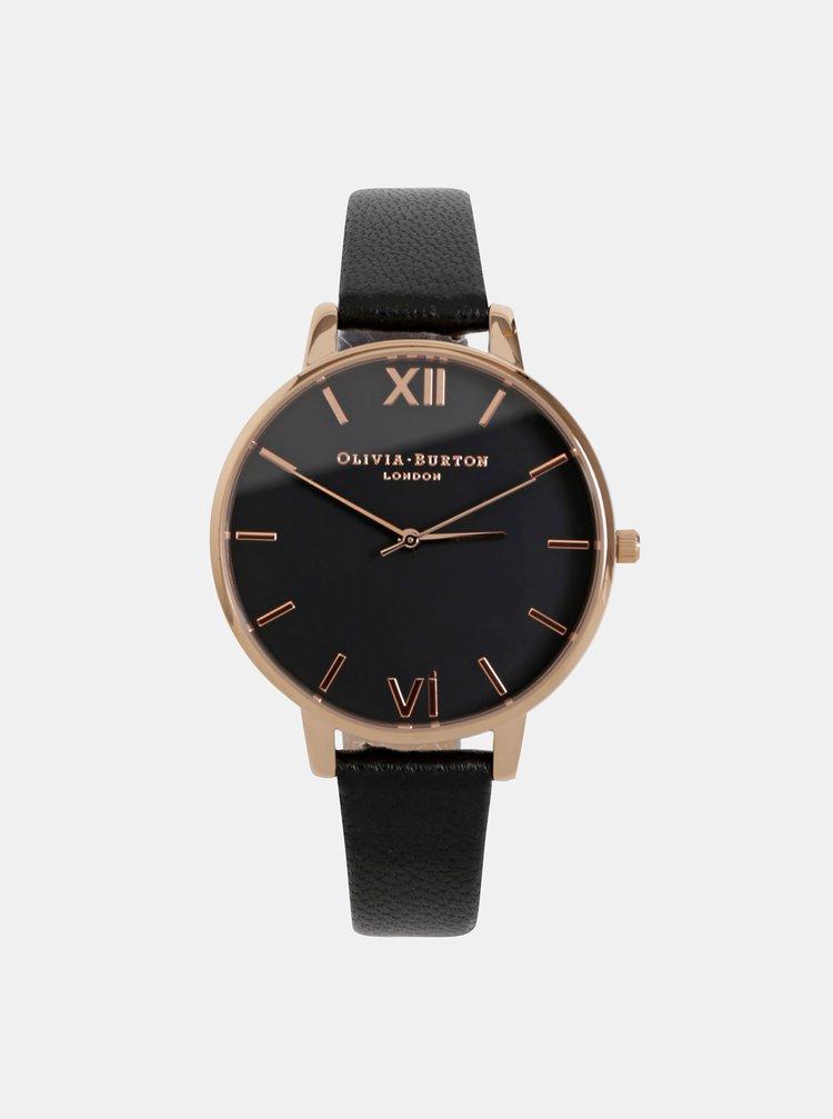 Dámske hodinky s čiernym koženým remienkom Olivia Burton