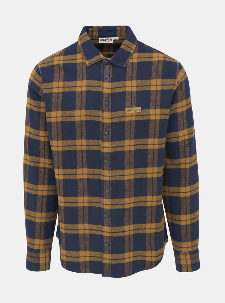 Hnědo-modrá pánská kostkovaná flanelová košile Maloja Saxsee