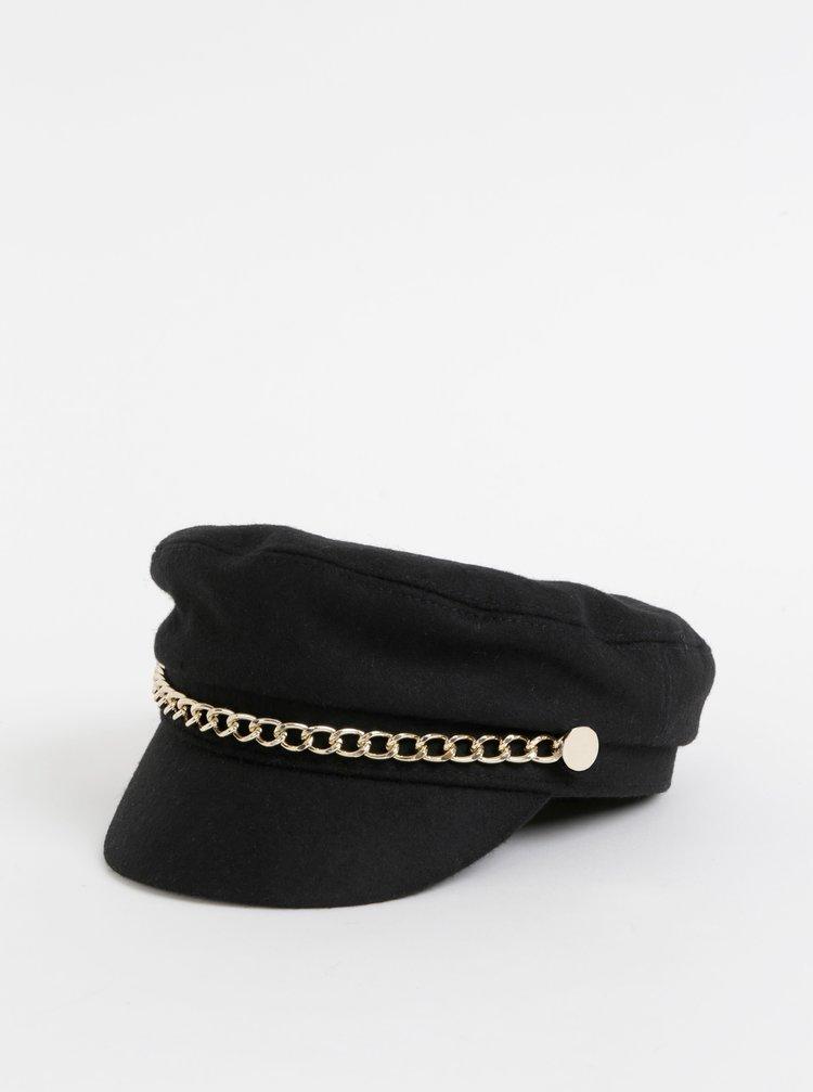 Čierna kapitánska čapica s prímesou vlny Pieces Iline