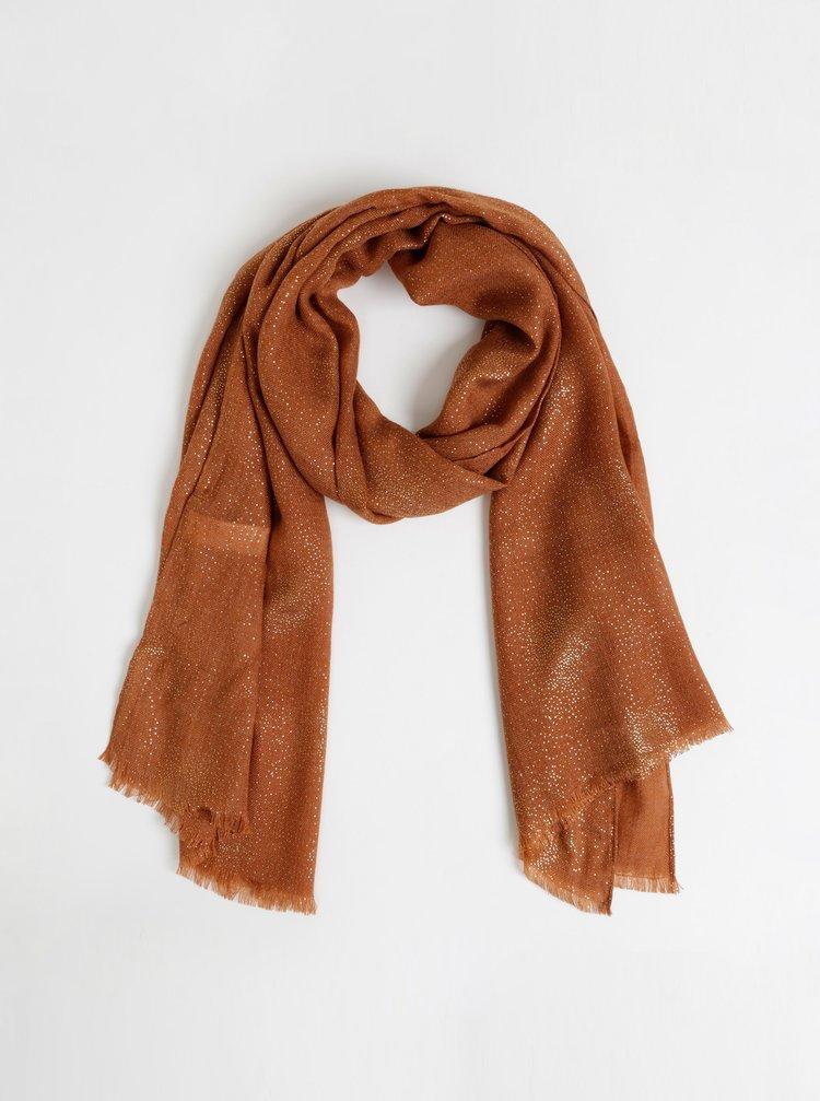 Hnědý třpytivý šátek Pieces Jarina