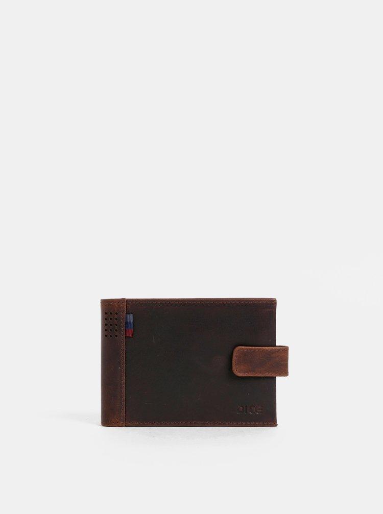 Tmavě hnědá kožená peněženka Dice