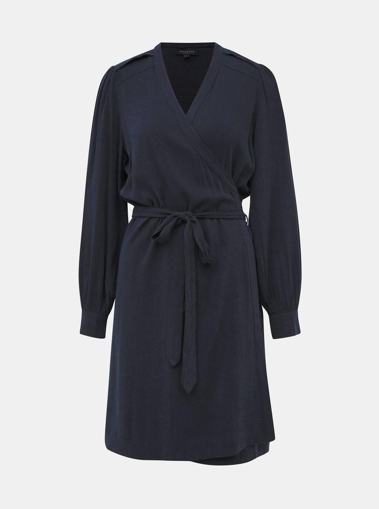 Tmavomodré zavinovacie šaty Selected Femme Milja