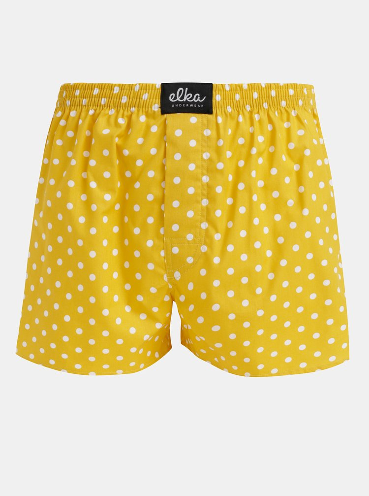 Žluté pánské puntíkované trenýrky El.Ka Underwear