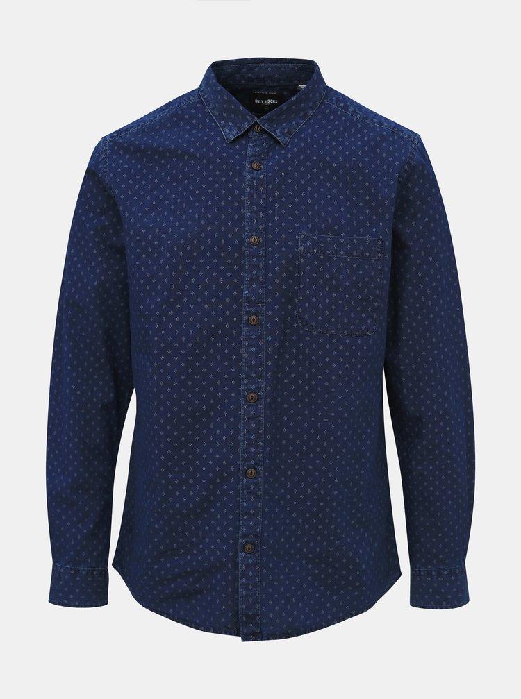 Tmavě modrá džínová slim fit košile ONLY & SONS Frank
