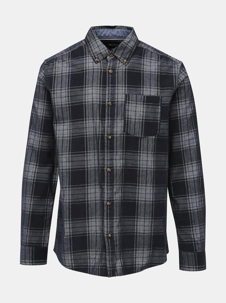 Tmavě modrá kostkovaná manšestrová regular fit košile ONLY & SONS Gorm