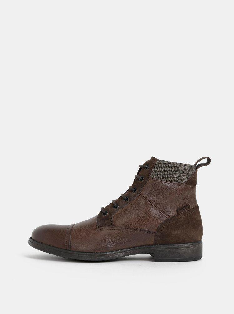 Tmavohnedé pánske kožené zimné členkové topánky Geox Jaylon