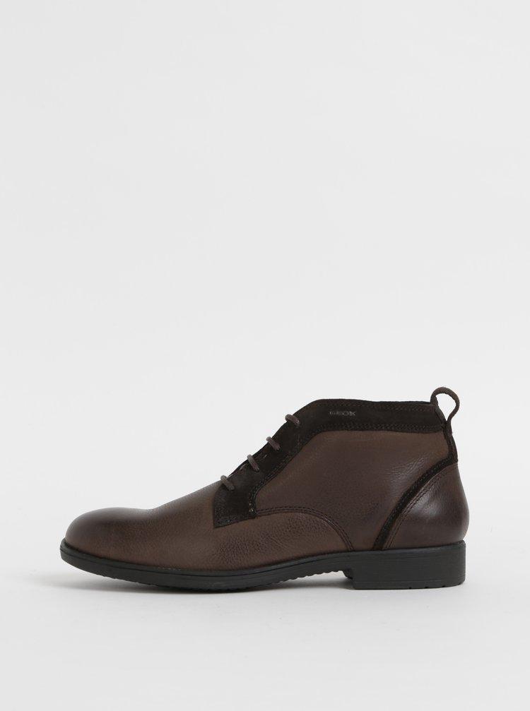 Tmavohnedé pánske kožené členkové topánky Geox Jaylon