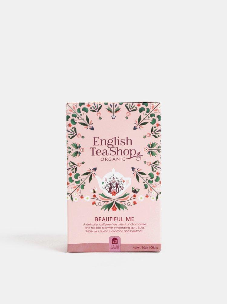 Organický bylinný čaj s heřmánkem, ibiškem, skořicí, kakaem, pomerančem a růžovými okvětními lístky English Tea Shop Pro krásu