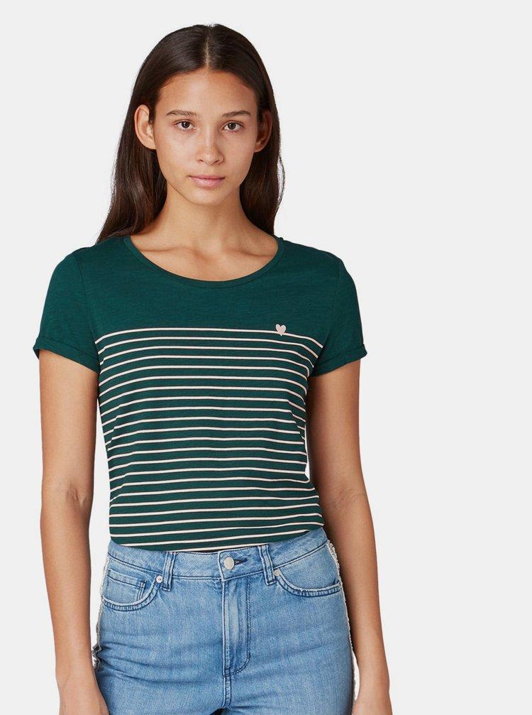 Tmavě zelené dámské pruhované tričko Tom Tailor Denim