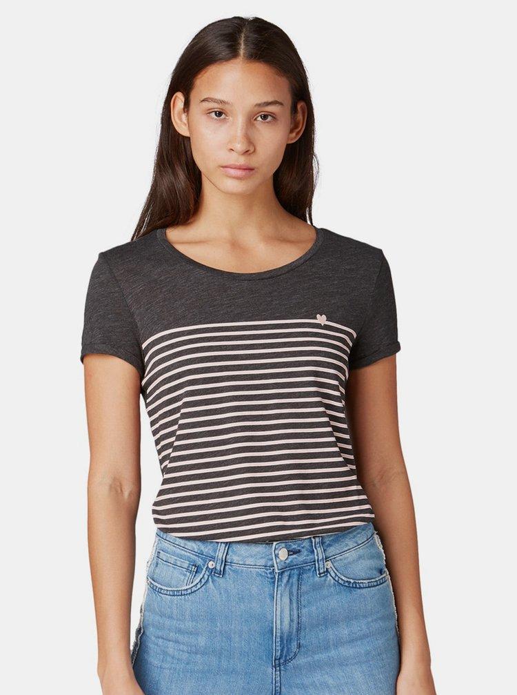 Tmavě šedé dámské pruhované tričko Tom Tailor Denim