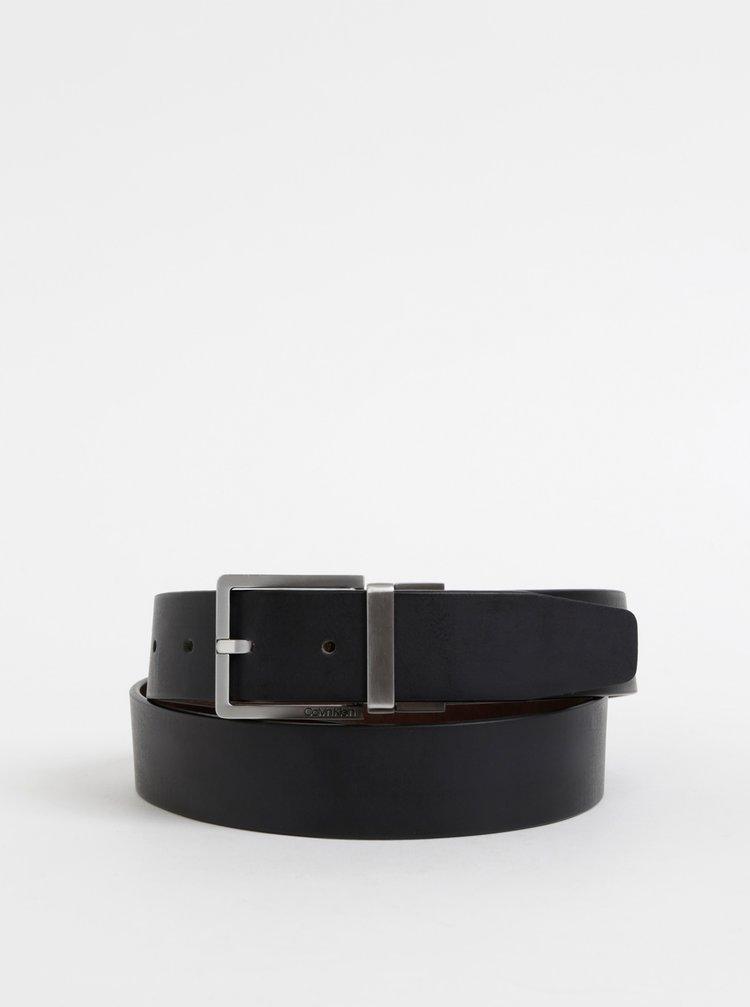 Hnedo-čierny pánsky obojstranný kožený opasok Calvin Klein Jeans