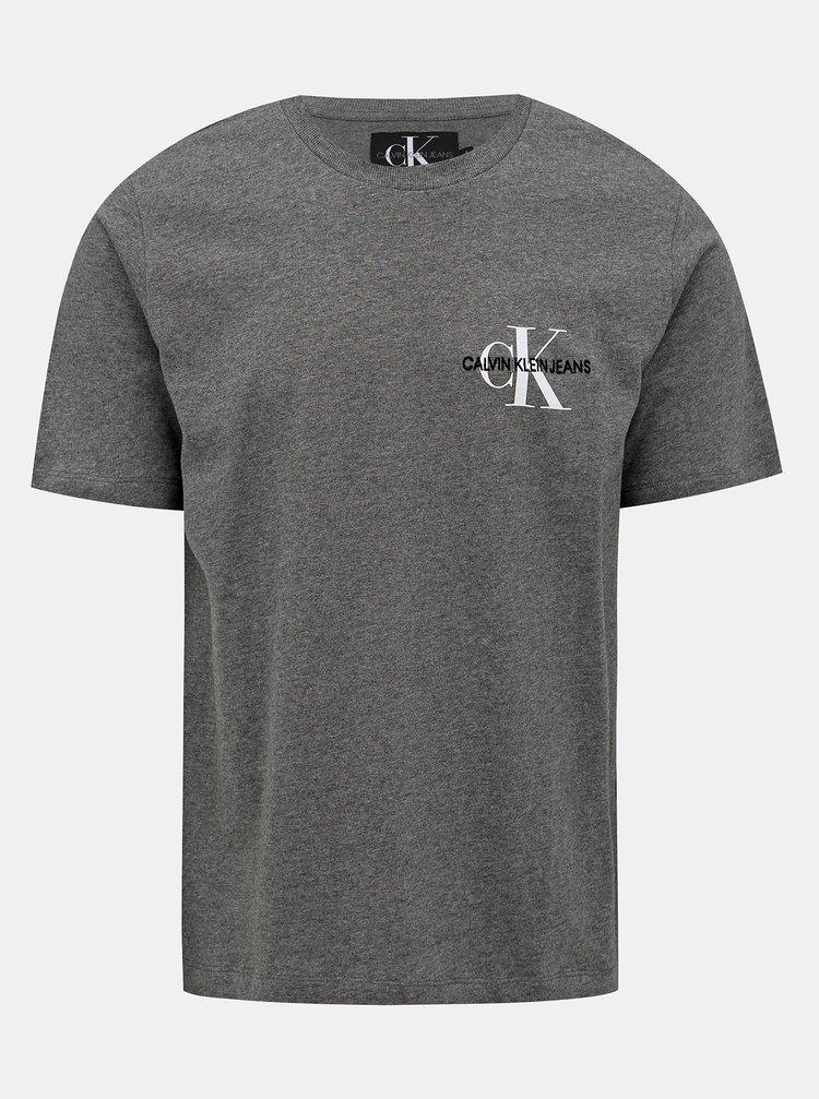 Šedé pánske tričko s potlačou Calvin Klein Jeans