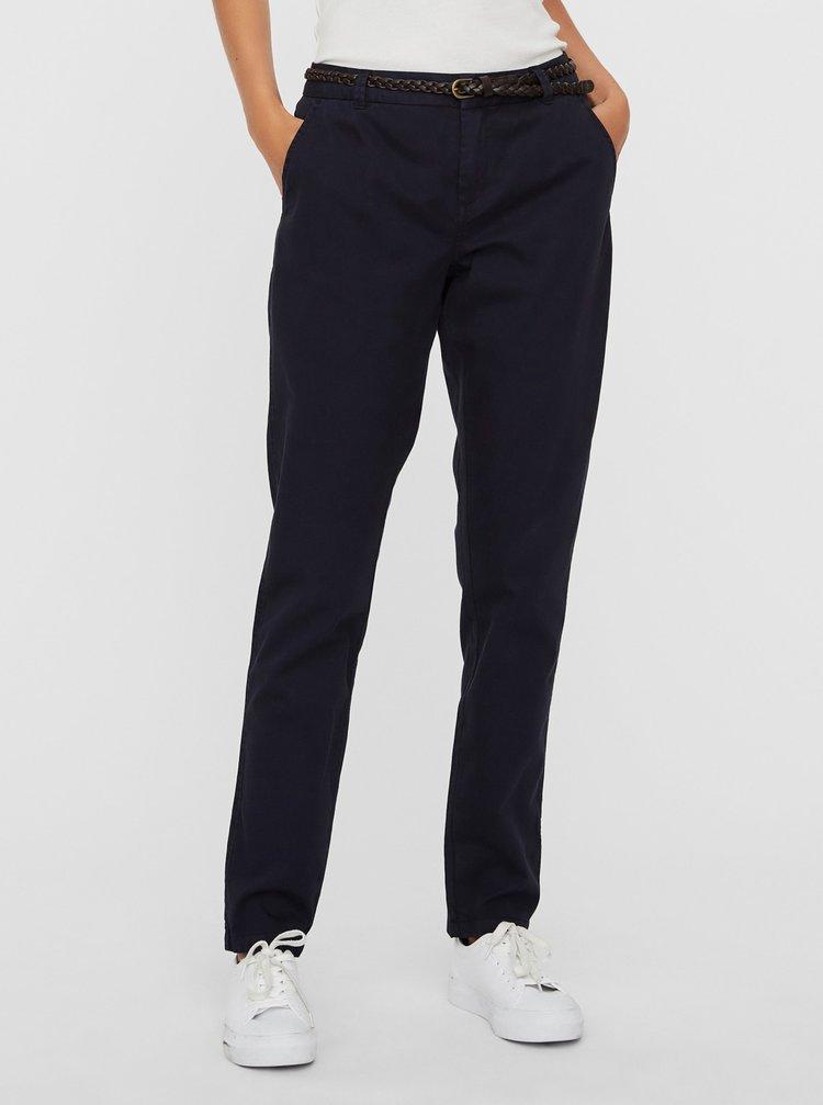 Tmavě modré chino kalhoty s páskem VERO MODA Flame