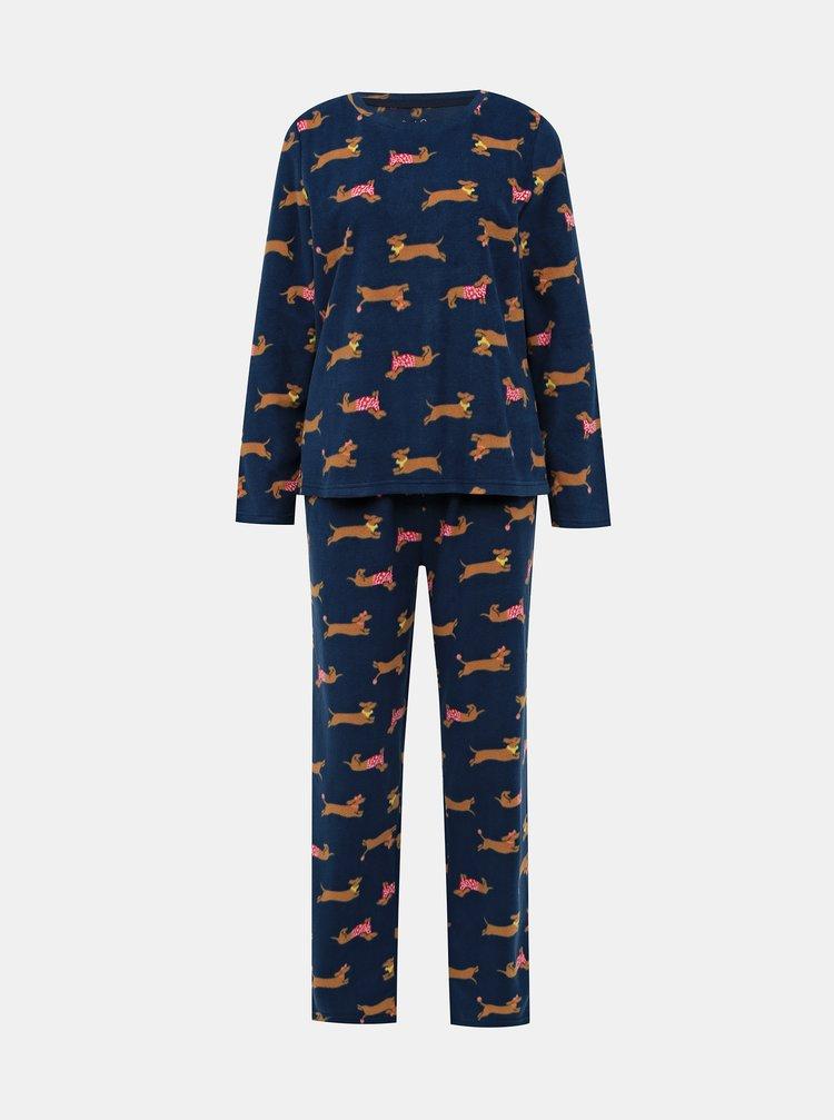 Tmavě modré vzorované dvoudílné pyžamo M&Co