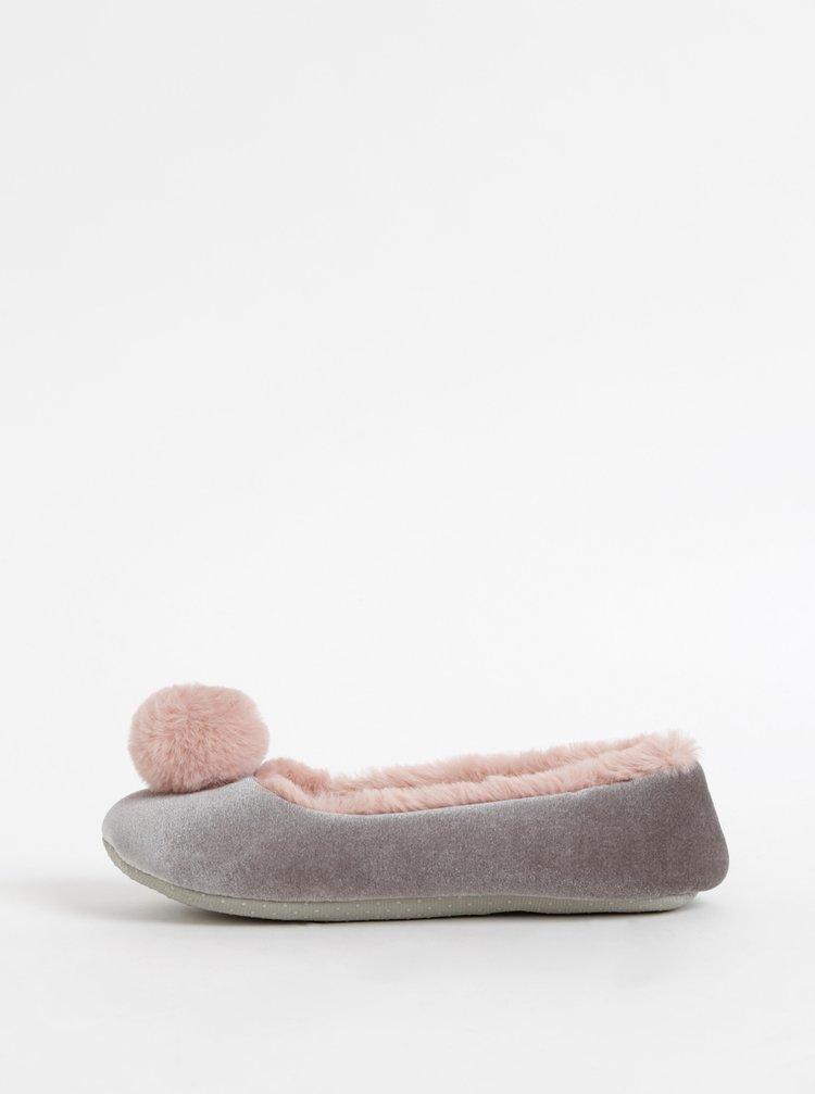 Růžovo-šedé papuče s bambulí M&Co