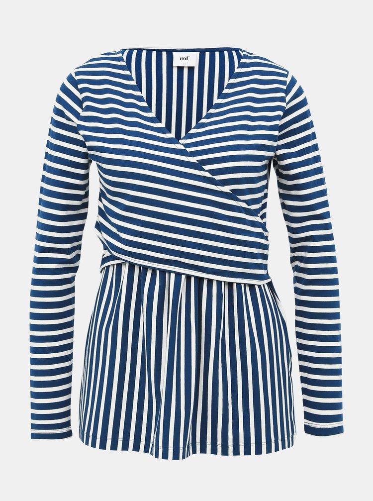 Bielo-modré pruhované tehotenské/dojčiace tričko Mama.licious Otilia
