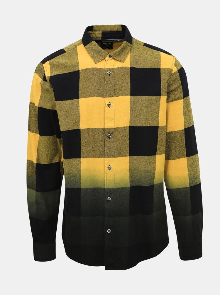 Černo-žlutá kostkovaná slim fit košile ONLY & SONS Freddy