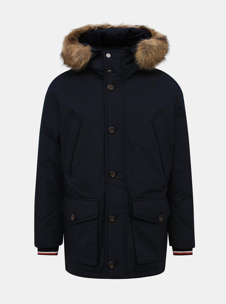 Tmavomodrá pánska zimná bunda Tommy Hilfiger