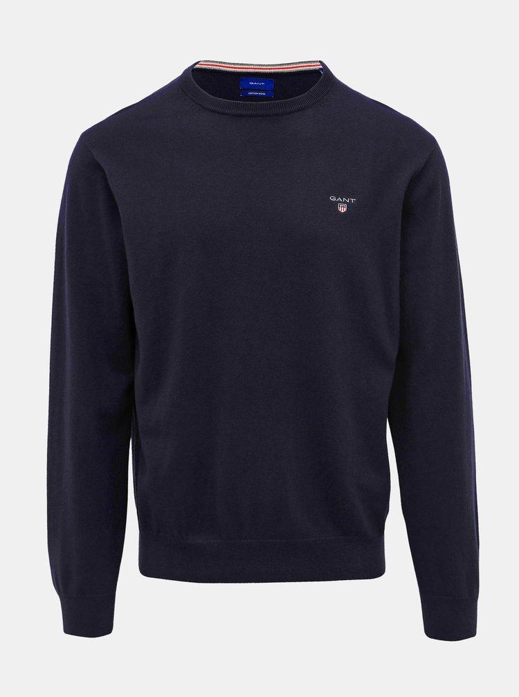 Tmavomodrý pánsky sveter s prímesou vlny GANT